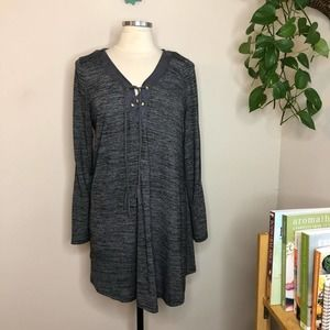 Monoreno lace up elbow patch knit dress gray Large